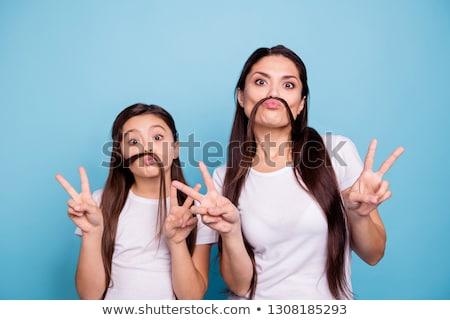 Meisje namaak snor meisje kind Stockfoto © photography33