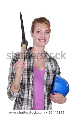 Woman with a pickaxe and plans Stock photo © photography33