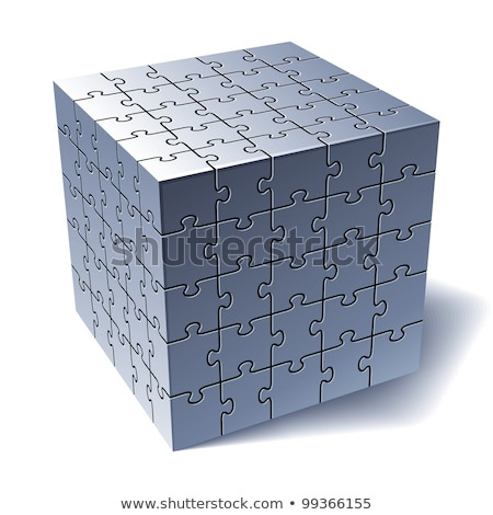 Jigsaw puzzle cube. All Parts Together Stock photo © fixer00