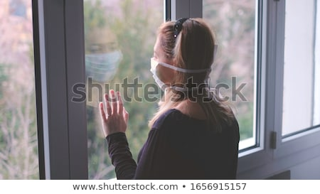Blond okno pani posiedzenia kobieta Zdjęcia stock © Novic