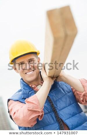 utasítás · munkás · hordoz · fából · készült · deszkák · teljes · alakos - stock fotó © photography33