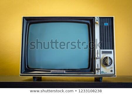 Vintage желтый телевизор изолированный белый Сток-фото © vichie81