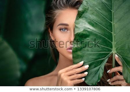 Vrouw groen blad foto witte gelukkig gezondheid Stockfoto © dolgachov