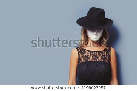 moda · kız · gri · elbise · şapka · portre - stok fotoğraf © anna_om