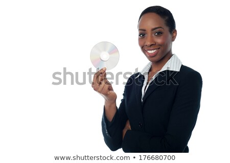 Genç kadın cd yüz teknoloji mavi Stok fotoğraf © photography33