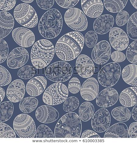 Bloempatroon Pasen kaart dekken bloemen gelukkig Stockfoto © creative_stock