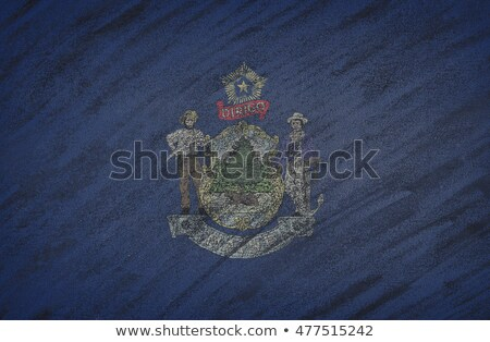 Photo stock: Flag Of Us State Of Maine On Blackboard Painted With Chalk