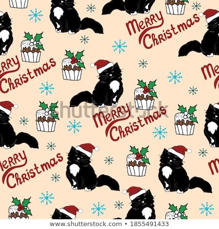 Fekete végtelenített hópelyhek minta absztrakt terv Stock fotó © 0mela