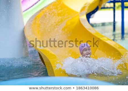счастливым · женщину · вниз · Водная · горка · женщины · отель - Сток-фото © smuki
