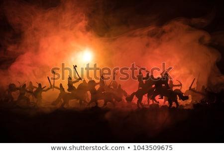 samurai · zwaarden · zonsondergang · man · achtergrond · silhouet - stockfoto © winterling