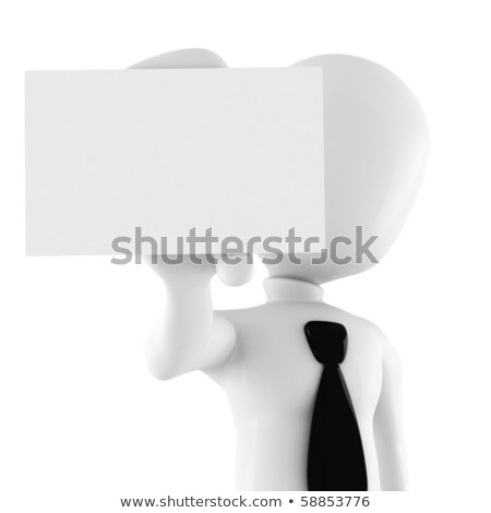 3d man showing a blank business card stock photo © digitalgenetics