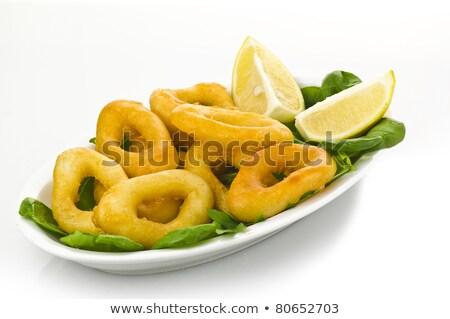 Stock fotó: Tintahal · gyűrűk · saláta · étel · citrom · citrus