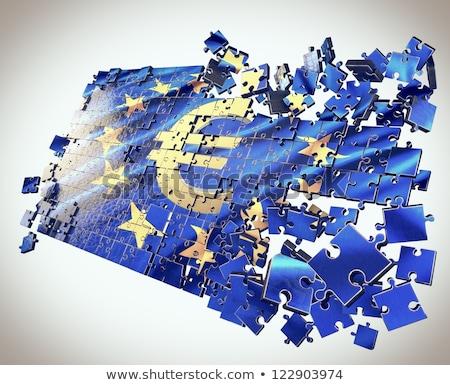 Stockfoto: Europese · unie · problemen · Europa · vlag · Geel