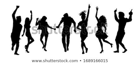 Vonzó lány tánc sziluett fehér nő tengerpart Stock fotó © Quka
