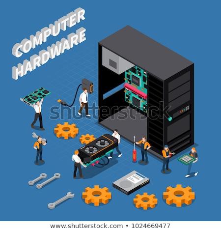 ilustração · 3d · computador · tecnologia · reparação · de · computadores · atravessar · segurança - foto stock © kolobsek