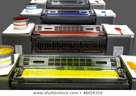 impression · machine · orange · bleu · rouge · magasin - photo stock © snapshot
