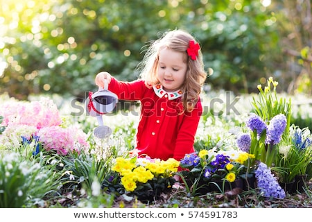 Stock photo: Floral Garden And Little Friends