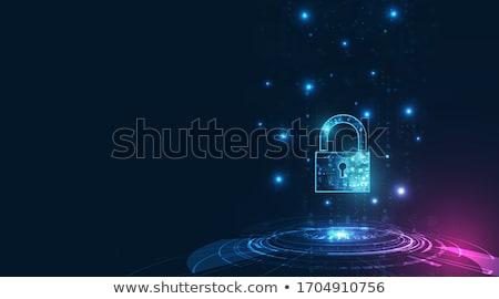Prywatność niebieski przycisk kłódki ikona nowoczesne Zdjęcia stock © tashatuvango