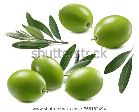 Verde grego azeitonas tigela completo alimentação saudável Foto stock © ctacik