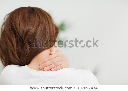 ストックフォト: 女性 · 手をつない · 首 · アップ · 若い女性 · 顔