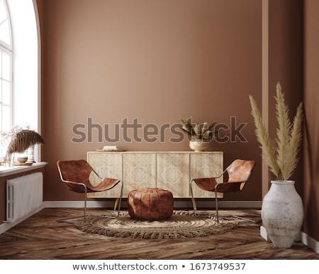 Iç kanepe lamba büyük pencere kahve Stok fotoğraf © Ciklamen