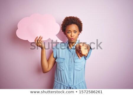 серьезный женщину указывая привлекательный Сток-фото © fantasticrabbit