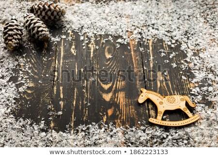 christmas greeting card rocking horse copy space stock photo © marimorena