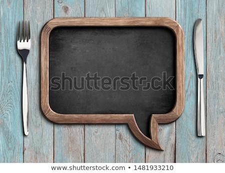 oude · bestek · houten · tafel · keuken · tabel · retro - stockfoto © nessokv
