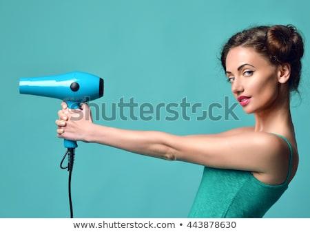 haardroger · geïsoleerd · grijs · haar · witte · vrouwen · haren - stockfoto © tungphoto