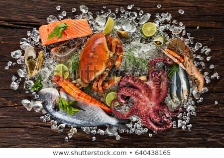 nyers · polip · főzés · fűszer · kő · asztal - stock fotó © stevemc
