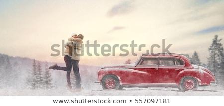 Auto sneeuw vrouw paar bomen Stockfoto © monkey_business