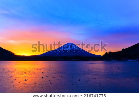 mount fuji and lake shojiko at sunrise stock photo © shihina