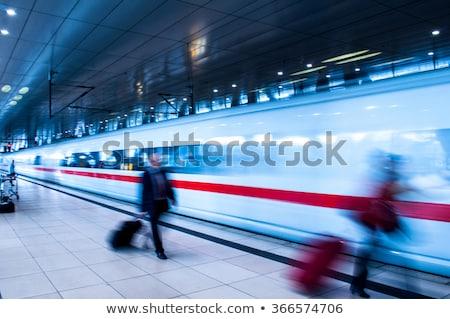 Urban Scene. Woman and Train. Railway Station Stock photo © gromovataya