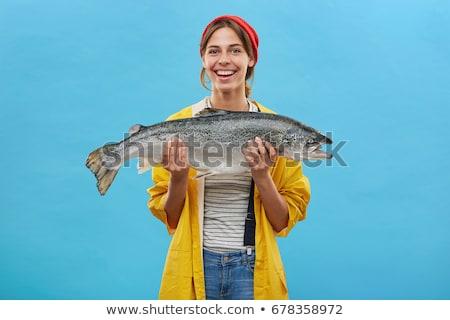 Portret permanente visser vrouw vrouwen Stockfoto © phbcz
