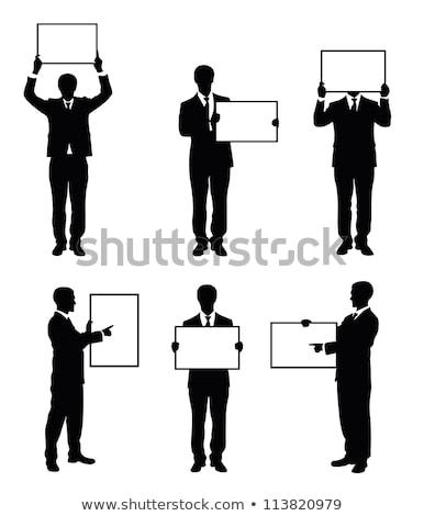 man holding board silhouettes stock photo © Slobelix