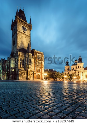 prague old town hall at night stock photo © stevanovicigor