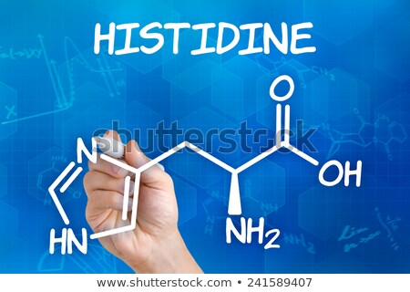 Hand with pen drawing the chemical formula of histidine Stock photo © Zerbor