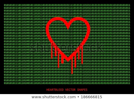 Heartbleed openssl bug vector shape, bleeding heart with wall of Stock photo © slunicko