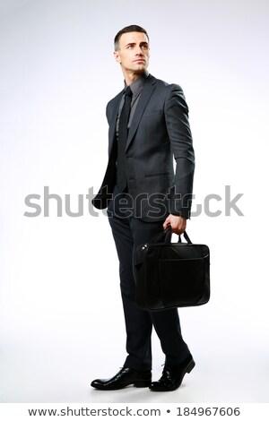 Portret nadenkend zakenman zak geïsoleerd witte Stockfoto © deandrobot