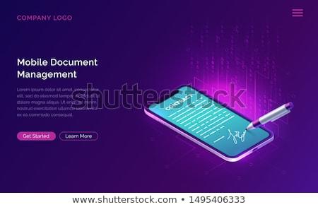 Sécurisé transaction pourpre vecteur icône design Photo stock © rizwanali3d