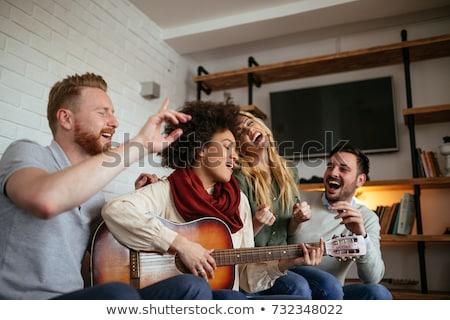 Foto stock: Jugando · guitarra · jóvenes · hermosa · Asia