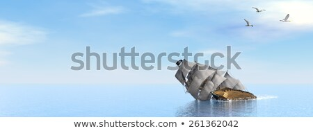 Pirate Ship sinking - 3D render Stock photo © Elenarts