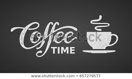 Kawy podpisania uśmiech strony czekolady restauracji Zdjęcia stock © illustrart