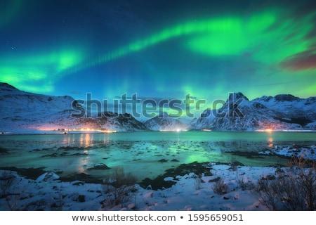 Aurora borealis over city buildings Stock photo © Juhku