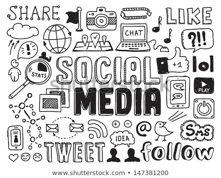 social media doodles sketch set with infographics elements stock photo © davidarts
