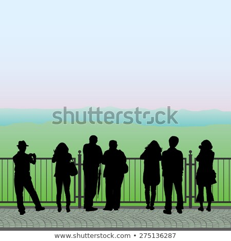 Silhouettes of people on the observation deck, vector Stock photo © Bellastera