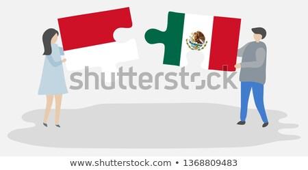 Indonézia Mexikó zászlók puzzle vektor kép Stock fotó © Istanbul2009