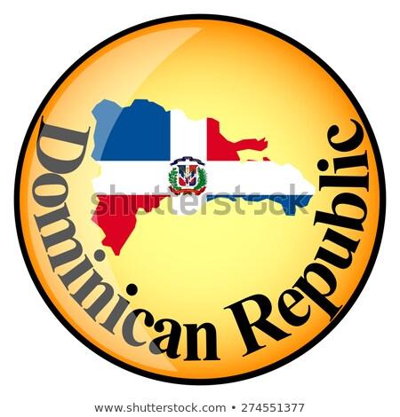 Foto stock: Naranja · botón · imagen · mapas · República · Dominicana · forma