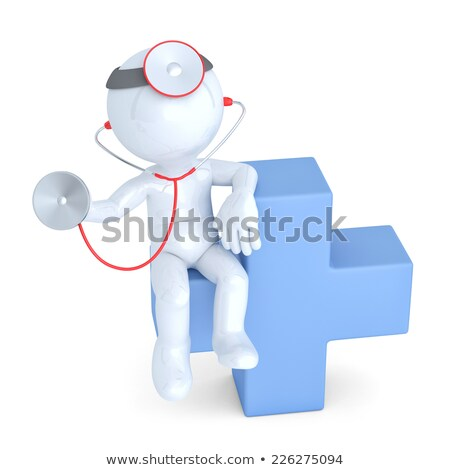 3d Doctor with blue medical cross symbol. Isolated. Contains clipping path Stock photo © Kirill_M