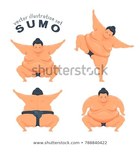 Grappig sumo worstelaar illustratie man gelukkig Stockfoto © adrenalina